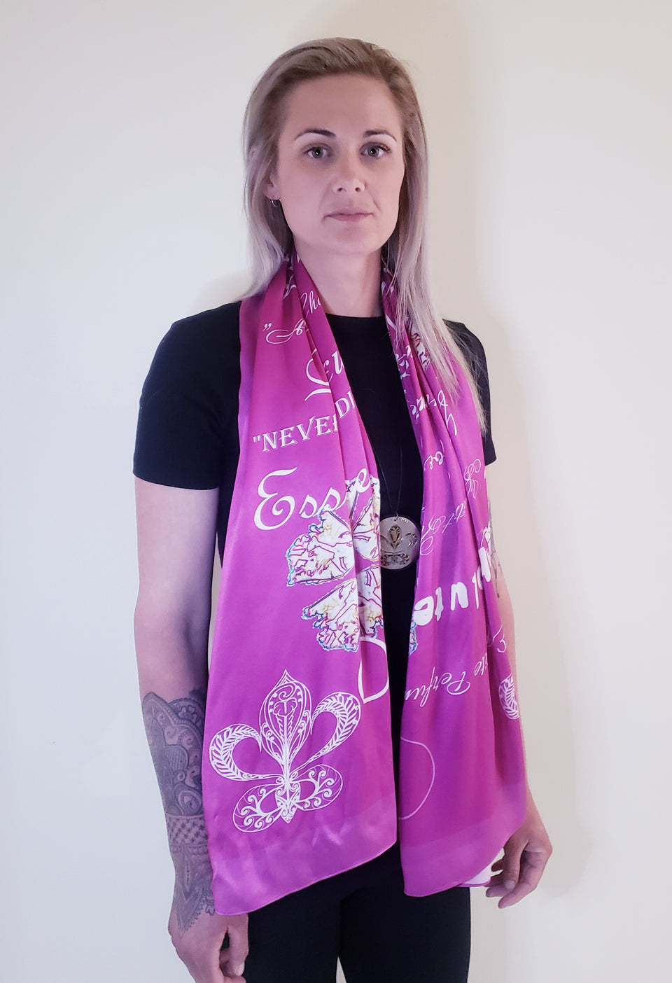 100% SILK SATIN SCARF- RASPBERRY- EXTRA LONG OBLONG 150 cm