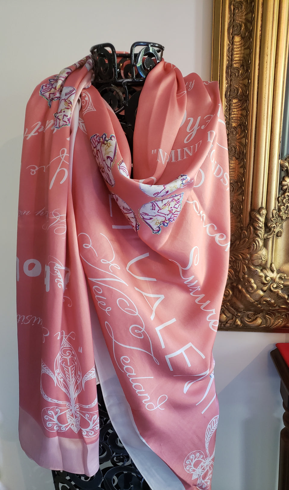 100% SILK SCARF- CORAL- EVENING SCARF 150