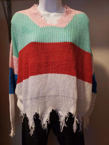 New Fall distressed knitted sweaters color is pink teal red white blue