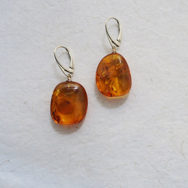 amber sterling silver drop earrings white background