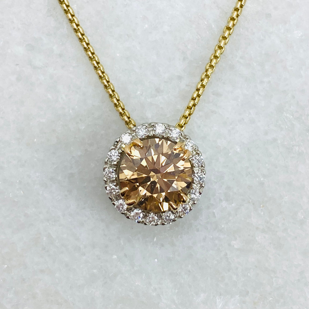 cognac diamond halo pendant white background