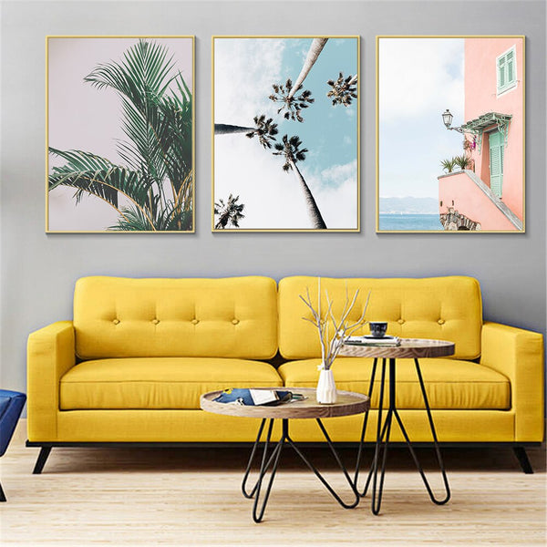 Tropical Palm Tree Poster Nordic Wall Art Canvas Green Leaf Coastal Landscape Sea House Wall Pictures For Living Room Decoration
