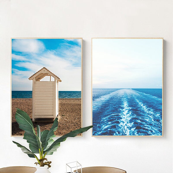 Gohipang Nordic Style Poster Landscape Canvas Painting Seaside Blue Sky Posters And Prints Modern Picture Print Home Room Decor