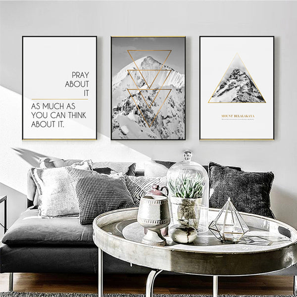 Snow Mountain Decoration Home Wall Art Canvas Painting Quotes Posters and Prints Decorative Pictures for Living Room Wall Decor