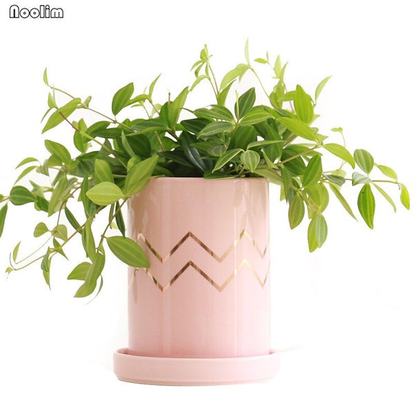 Ceramic Nordic Style Flower Pot With Tray Creative Succulent Plants Container Living Room Office Desktop Garden Decoration - The Perfect Home Accesories