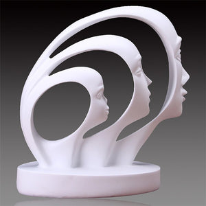 Modern A Family of Three Statue Home Decoration Accessories People Sculpture White Black Resin Figurines Abstract Art Craft Gift - The Perfect Home Accesories
