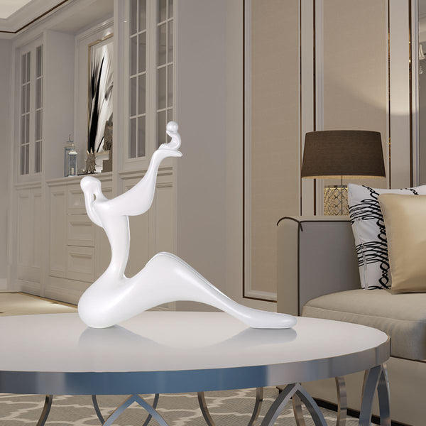 Delicate Mom and Child Lift Resin Sculpture House Decorative Statue Home Office Desktop Decor Modern Abstract Nice Art Figurine (White) - The Perfect Home Accesories