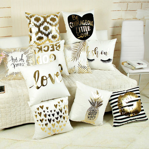 Love style Softer fabric Gold stamp pillow cover bedding pillowcase 45cm*45cm Home Decor decorative gold stamping Pillow cover