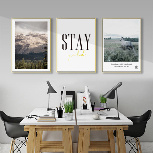 Nordic Decoration Mountain Ocean Landscape Wall Art Canvas Painting Quote Horse Posters and prints Wall Pictures for Living Room