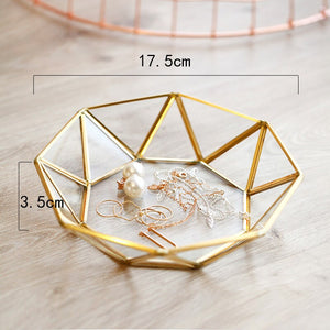 Handmade Retro Brass Storage Tray Golden Polygon - The Perfect Home Accesories