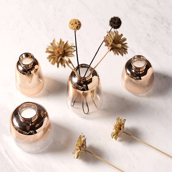 Glass Vase Nordic Electroplated Gold Vase Glass Flower Vases For Home Decor Dried Flower Bottle Bar Restaurant Decoration
