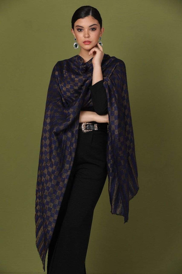 Pashtush Shawl Store Stole Pashtush Womens Twilight Checkered Scarf, With Shimmery Zari  thread Weave Blue
