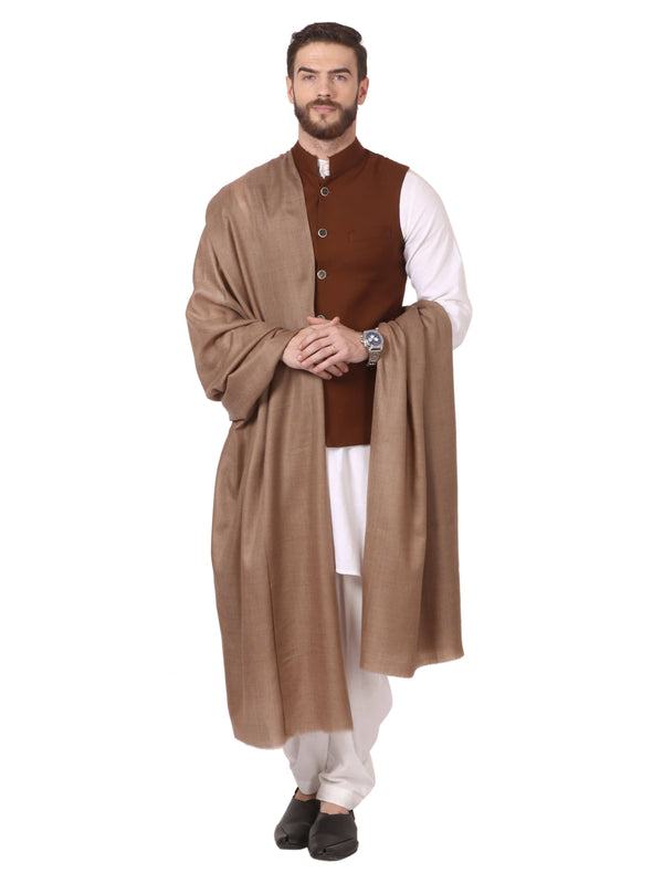 Pashtush Store Shawl Mens Blended Wool (50%) Ring Shawl, light weight, Taupe