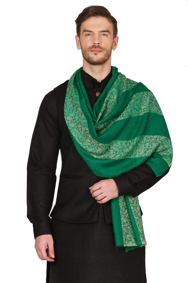 Pashtush Store Stole Mens Fine Wool Reversible Muffler, Soft and Warm - Emerald Green