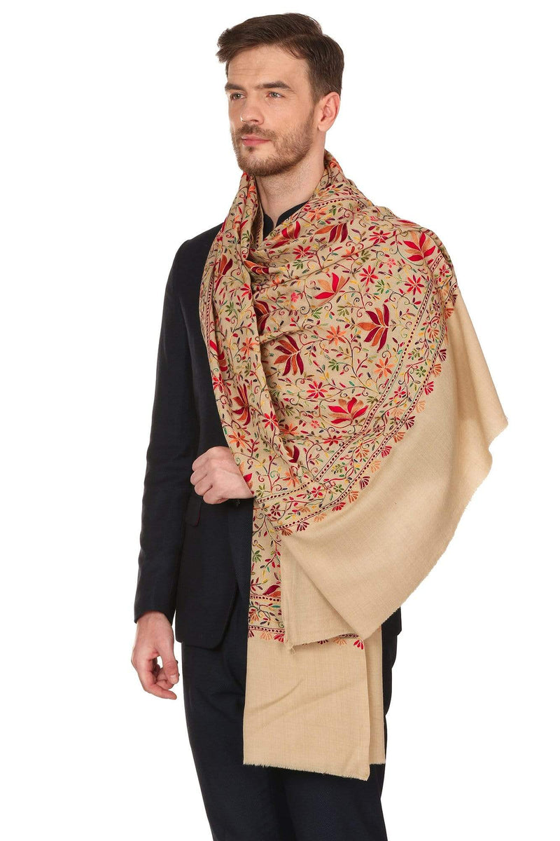 Pashtush India Stole Mens Hand Embroidered Stole, Ethnic Wrap, 100% Pure Wool