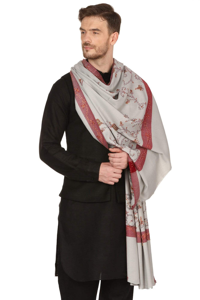 Pashtush Store Shawl Pashtush Mens Kashmiri Hand Embroidery Shawl, Thick and Warm