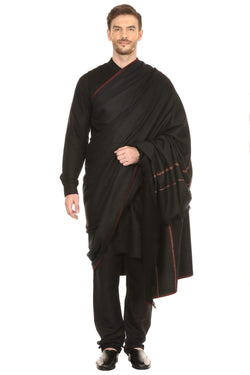 Pashtush India Shawl Pashtush Mens Thick Shawl Gents Lohi Woven Kinauri Design, Black