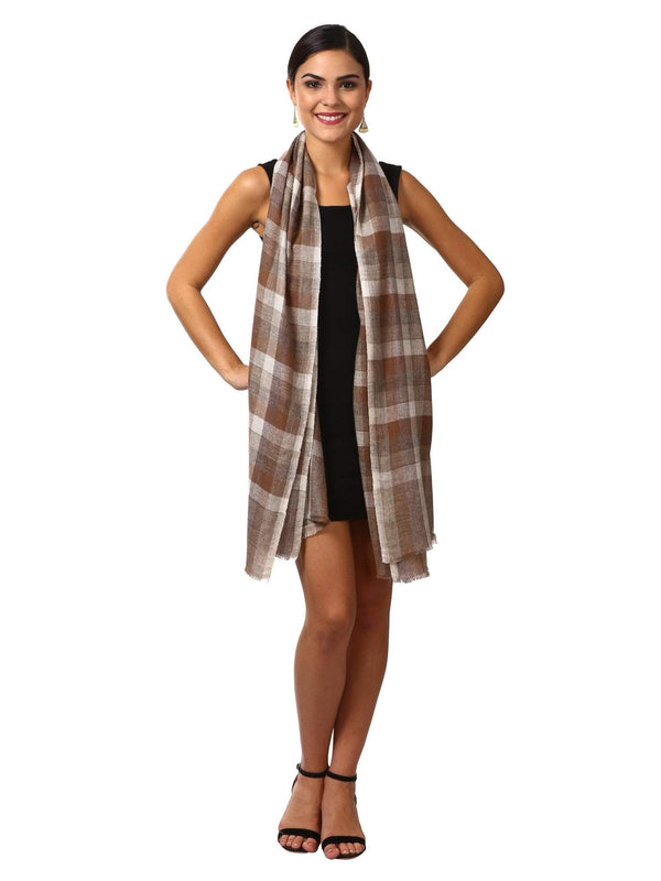 Pashtush Shawl Store Scarf Cashmere Wool Blended Muffler - Brown and Grey