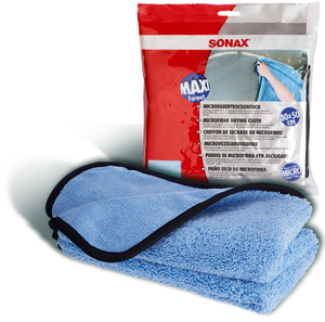 SONAX Microfibre Large Drying Cloth, with good water absorption.