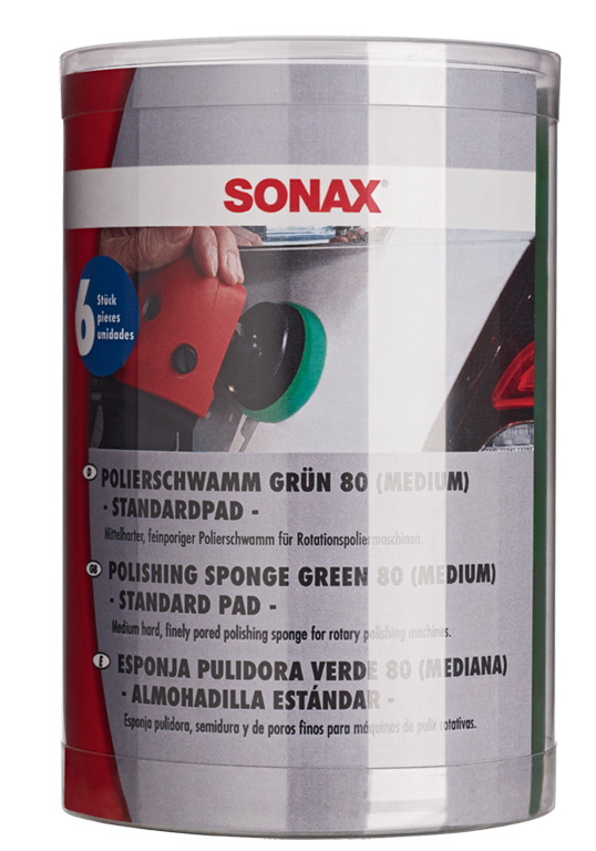 SONAX POLISHING SPONGE GREEN (MEDIUM) STANDARD PAD 80mm - 6 PACK