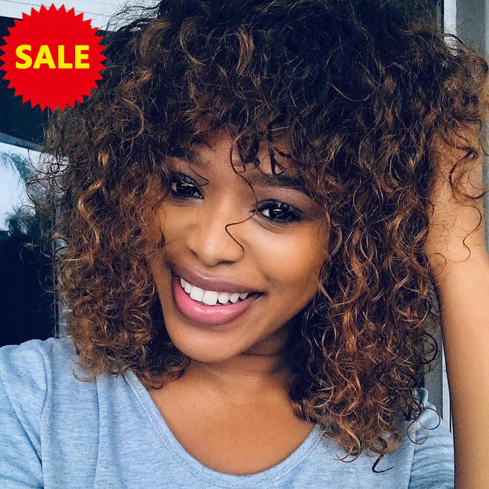Mix Color-Water Wave Bang Bob Wig 100% Virgin Human Hair