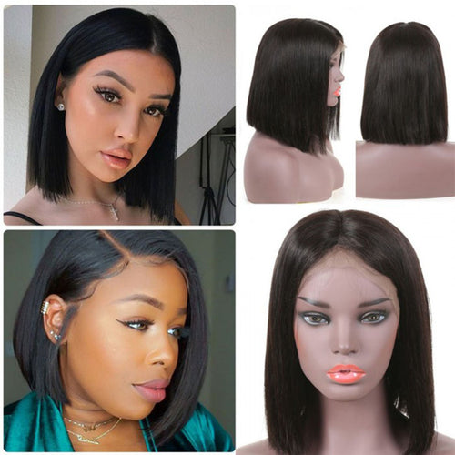 2019 New Short Straight Lace Bob Wig 100% Human Hair Without Bangs