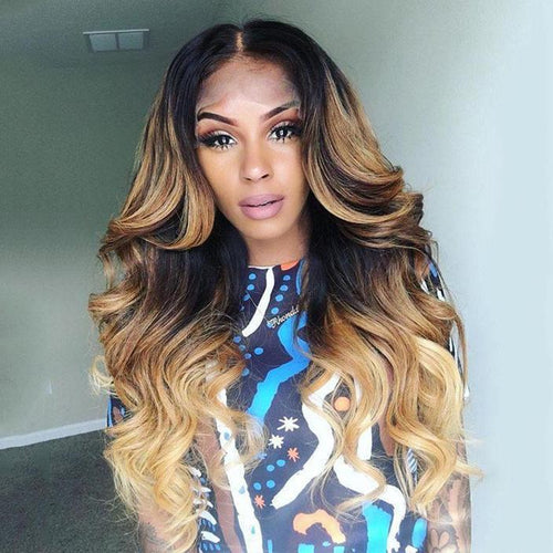 Latest Design - Brown Mixed Gold Girl Hair Wave  Wig