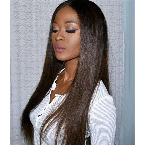 STRAIGHT HUMAN HAIR LACE WIG Brown Black Blonde Brown Mixed Gold