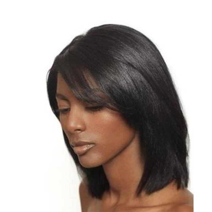 Silky Fluffy Polished Short Straight Lace  Wig 100% Real Human Hair About 10 Inches