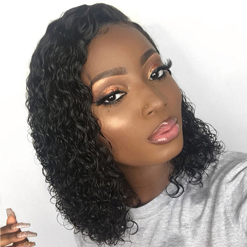 Short Lace Front Human Hair Wigs Deep Part Curly Brazilian Remy Hair 8-16""