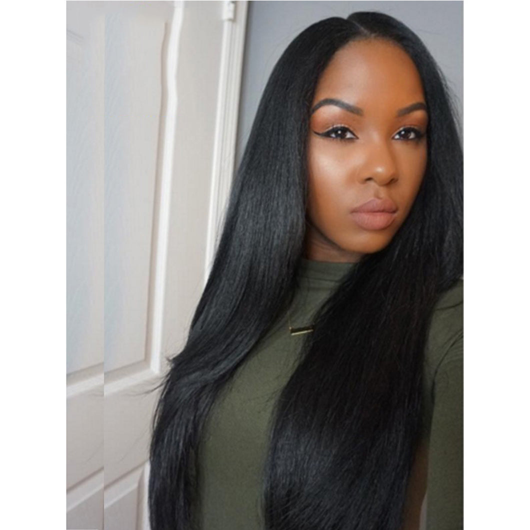 (Black/Blonde)2019 New Peruvian Remy Hair Silk Straight Glueless Lace Wig