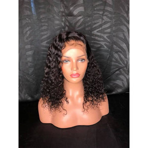 Charming black  lace short curly wig