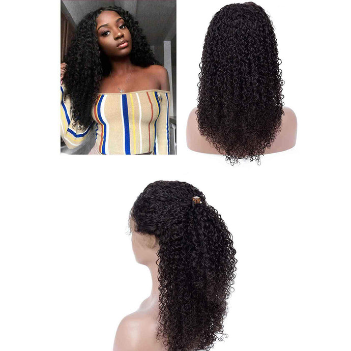 Cheap Human Hair 360 Lace Frontal Wigs Kinky Curly  For Black Women