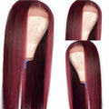 (OVER $55 FREE SHIPPING TODAY)Top Quality Wig Burgundy Brazilian Virgin Hair Reddish Straight/Curly