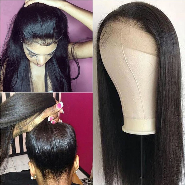 (Free shipping over $55)360 Lace Frontal Wigs Brazilian Straight Human Straight Natural Color Hair Wig