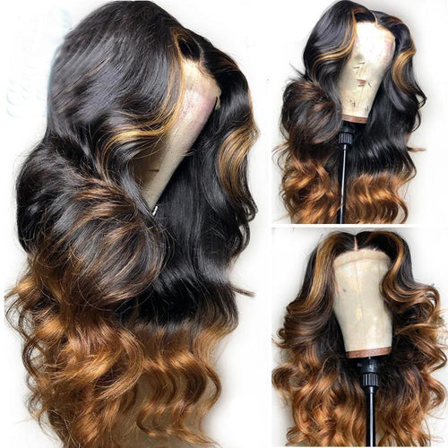 Malaysian Natural Wave Full Lace Wigs Middle Part Glueless Full Lace Human Hair Wigs Bleached Knots Highlight Color Wigs