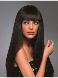 100% Human Hair Natural  Black Straight Wig
