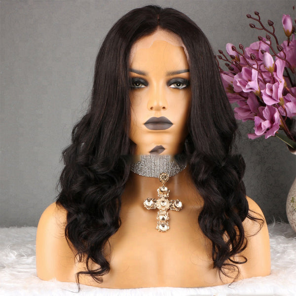 18'' Black Color Lace Front Wigs 100% Virgin Human Hair Body Wave Wigs