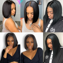 13*4 150% density Straight Short Bob Wig Lace Front Human Hair Wigs For Black Women