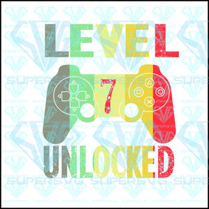 7th Birthday 7 Years Old Birthday Level 7 Unlocked Gamer, svg, png, dxf, eps file