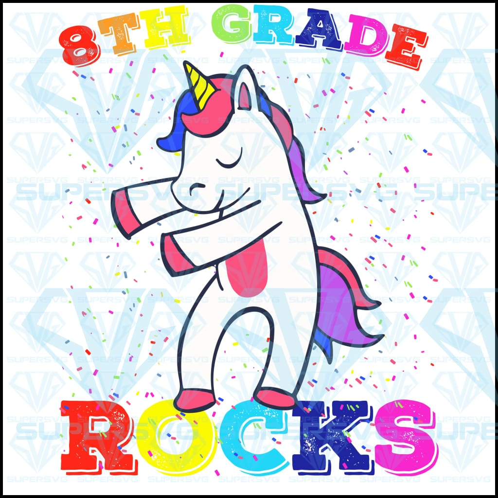 8th Grade Unicorn Rocks Flossing, svg, png, dxf, eps file