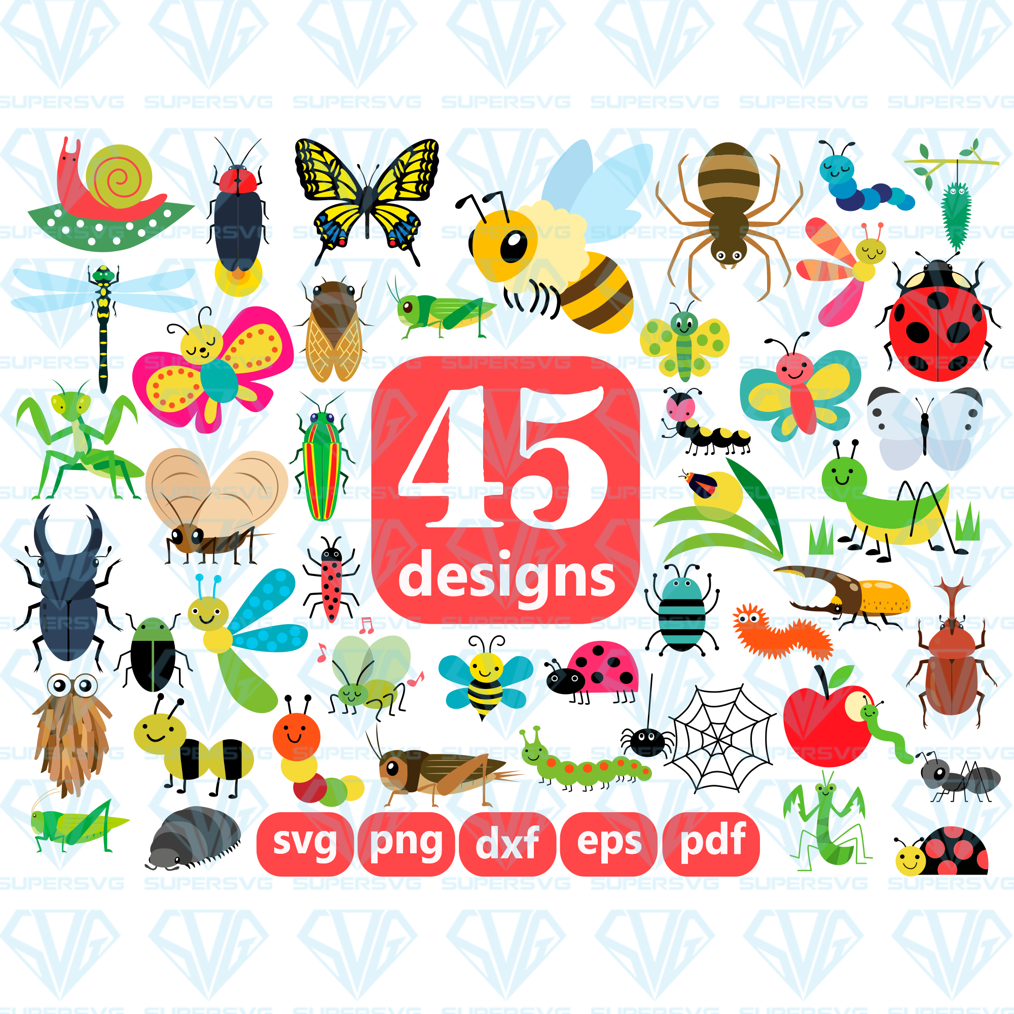 Insect Bundle Svg Files For Silhouette Files For Cricut Svg Dxf Ep Supersvg
