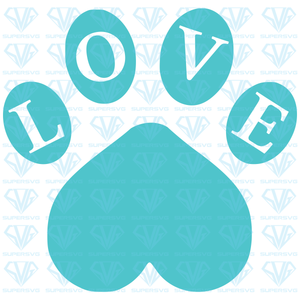 LOVE With Paw Print, svg, png, dxf, eps file