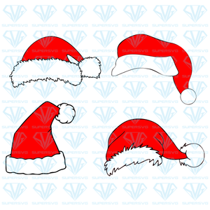 Santa Hat Bundle SVG Files For Silhouette, Files For Cricut, SVG, DXF, EPS, PNG  Instant Download