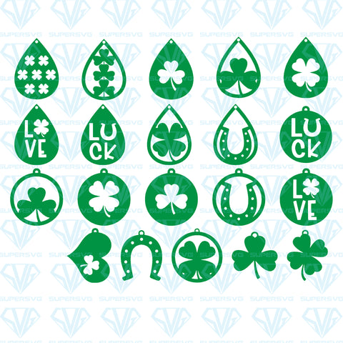 St. Patrick's Day Earrings Bundle, svg, png, dxf, eps file