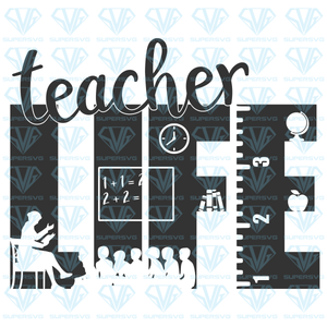 teacher life, classroom silhouette, svg, png, dxf, eps file