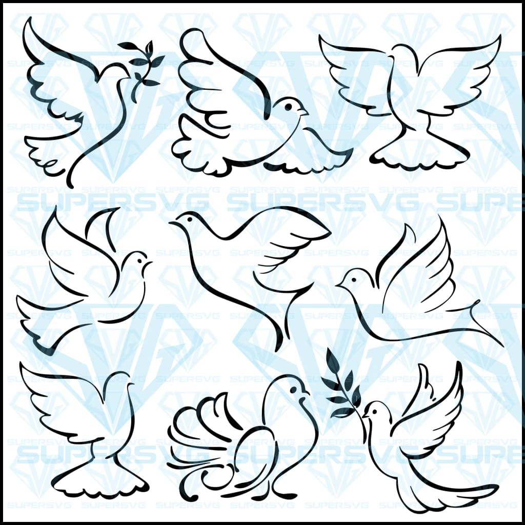 Abstract Flying Dove Bundle Sketch Set Vector Svg Files For Silhouette Cricut Dxf Eps Png Instant