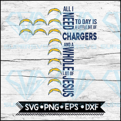 All I Need Little Chargers & Lot Jesus Cross Svg, Los Angeles Chargers Svg, Cricut File, Svg, NFL Svg