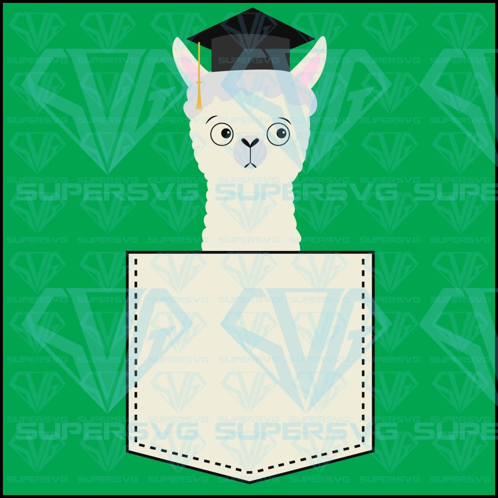 Alpaca Llama Sitting Pocket Face Graduate, svg, png, dxf, eps file