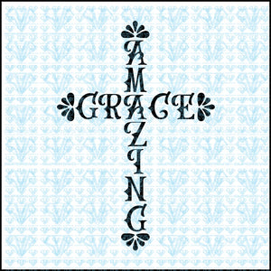 Amazing Grace Cross Svg Files For Silhouette Cricut Dxf Eps Png Instant Download